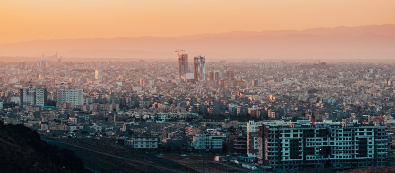 Smog over the city of Mashhad, Iran