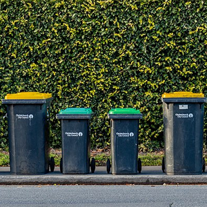 Rubbish bins in Christchurch, New Zealand