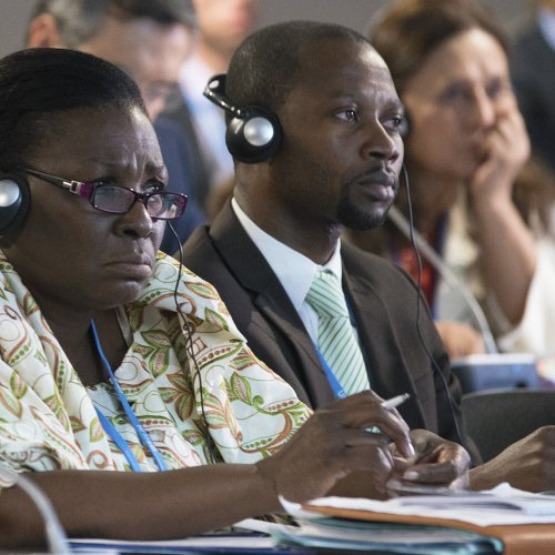 (L-R) Arlette Sombo Dibele, Minister of Environment, Sustainable Development, Water, Forests, Hunting and Fishing, Central African Republic; Maxime Thierry Dongbada-Tambano CCAC Focal Point, Central African Republic