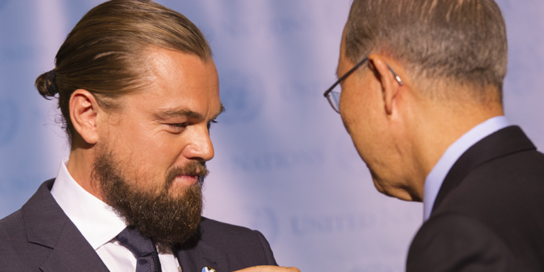 Leonardo DiCaprio and Ban Ki-moon (right)