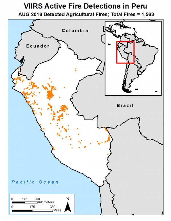 VIIRS active fire detections in Peru