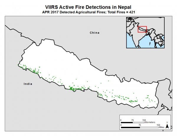 VIIRS active fire detections in Nepal