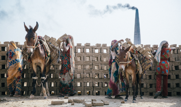 Brick kiln in India