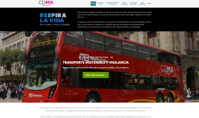 Mexico City's 'Respira la vida' website