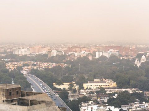 Aerial view of air pollution in Delhi, India
