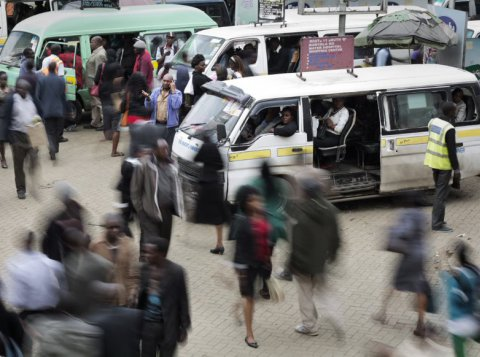 Bus station in downtown Nairobi (Kenya)