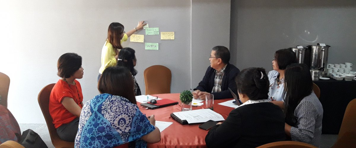 Participants in group discussion during the Organizational Workshop for SLCP Reduction using Open Space Method, 17-18 July 2017.