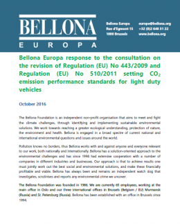 Bellona response to the European Commission consultation on CO2 emission performance standards for light duty vehicles