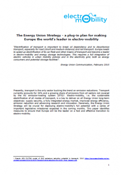 The Energy Union Strategy: a plug-in plan for making Europe the world's leader in electro-mobility