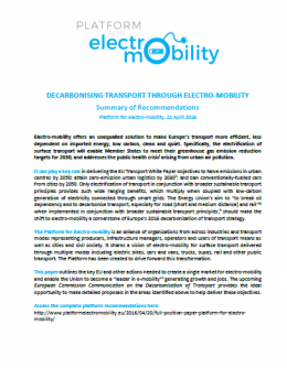 Electro-mobility platform recommendation paper on decarbonising transports