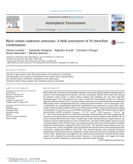 Black carbon cookstove emissions: A field assessment of 19 stove/fuel combinations