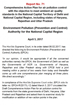 Comprehensive Action Plan for air pollution controlin the National Capital Territory of Delhi and National Capital Region, including states of Haryana, Rajasthan and Uttar Pradesh