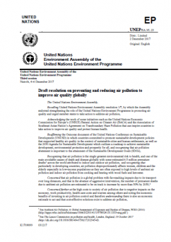 Preventing and reducing air pollution to improve air quality globally (Resolution adopted at the 2017 UN Environment Assembly)