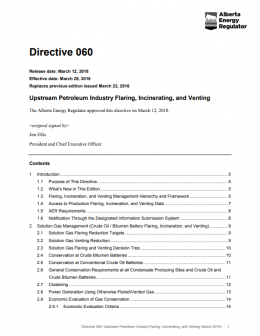 Directive 060: Upstream Petroleum Industry Flaring, Incinerating, and Venting