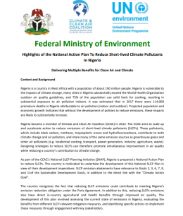 Highlights of the National Action Plan To Reduce Short-lived Climate Pollutants In Nigeria