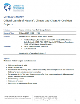 Meeting summary of the official launch of Nigeria's Climate and Clean Air Coalition projects.
