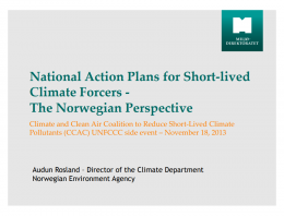 National Action Plans for Short-lived Climate Forcers - The Norwegian Perspective
