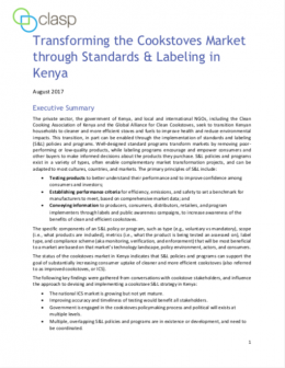 Transforming the Cookstoves Market through Standards & Labeling in Kenya