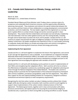 U.S.- Canada Joint Statement on Climate, Energy, and Arctic Leadership