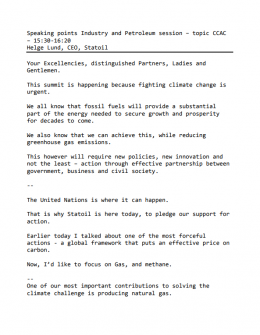 UNSG Climate Summit Statement by Helge Lund, CEO of Statoil