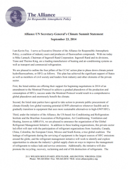 UNSG Climate Summit Statement by Kevin Fay, and Mike Lamach