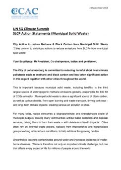 UNSG Climate Summit Statement by Parks Tau, Mayor of Johannesburg