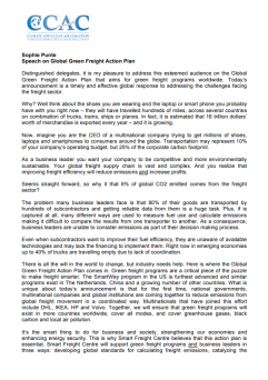 UNSG Climate Summit Statement by Sophie Punte, Smart Freight Centre