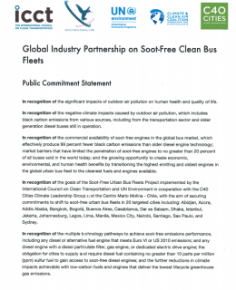Volvo Bus Corporation commitment statement - Global Industry Partnership on Soot-Free Clean Bus Fleets