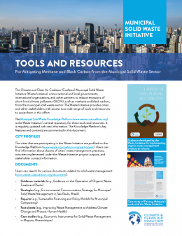 Tools and resources for mitigating methane and black carbon from the municipal solid waste sector