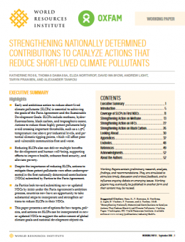 Strengthening Nationally Determined Contributions to catalyze actions that reduce short-lived climate pollutants