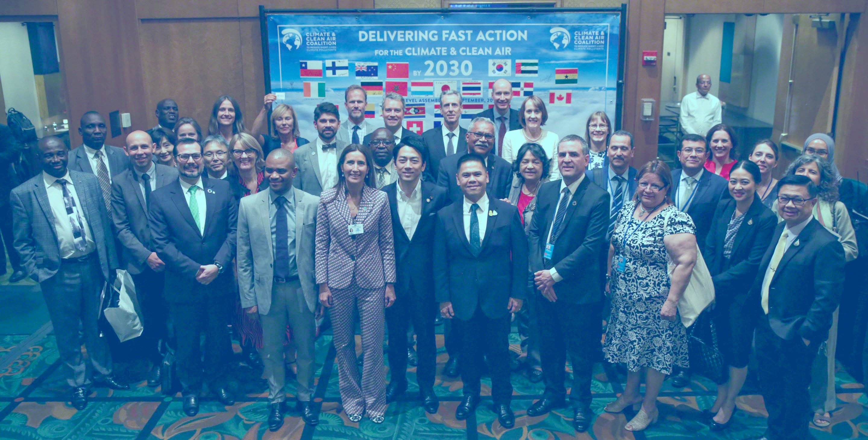 Family photo of the high level participants at the CCAC's 2019 High Level Assembly.